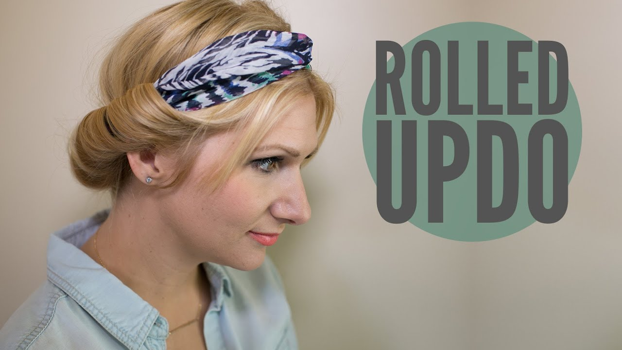 rolled updo with a scarf youtube
