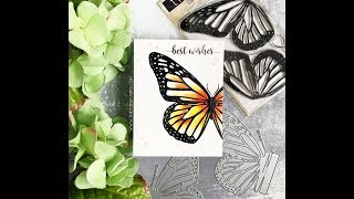 Watercolored Monarch Butterfly Wings and Pop Up Card