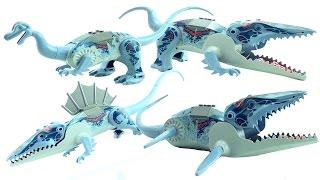 4 LEGO DInosaurs 6721 Mosasaurus - Postosuchus Iguanodon Dimetrodon - Lego Dinosaur Speed Build