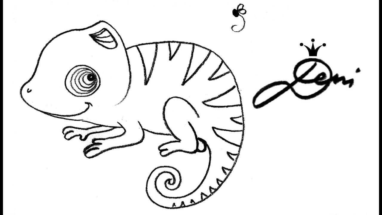 Chamäleon Zeichnen Lernen How To Draw A Chameleon как се