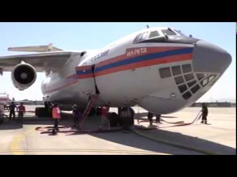 The IL-76 Russian air tanker in Chile
