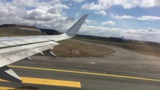LAN Airlines A321 takeoff from PUQ Punta Arenas Chile -  Great Views of southern patagonia