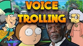 Players get TROLLED with HILARIOUS voice impressions! | FORTNITE (Morgan Freeman, Morty Smith)