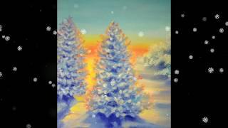 2 Как нарисовать Ёлку в снегу How to Draw a Winter PineTree Acrylic Easy for beginners Relaxing