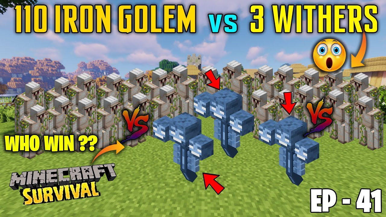 😱110 IRON GOLEMS vs 3 WITHER BATTLE - SAMSUNG,A3,A5,A6,A7,J2,J5,J7,S5,S6,S7,59,A10,A20,A30,A50,A70