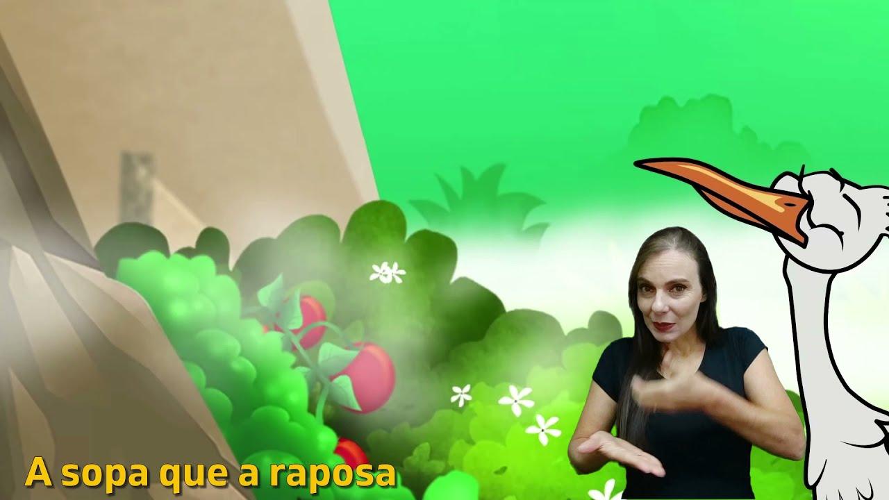 A Raposa e a Cegonha em Libras   Conto em Língua Brasileira de Sinais (Libras)   com legendas