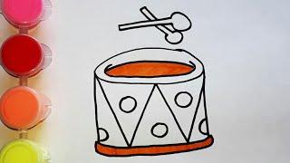 Усимся рисовать. Как нарисовать барабан. Картинки раскраски для детей. Легкие Рисунки.