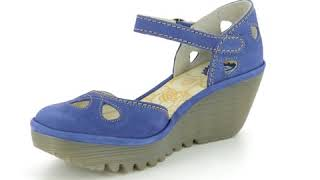 Fly London Yuna P500016-143 BLUE LEATHER Wedge Shoes