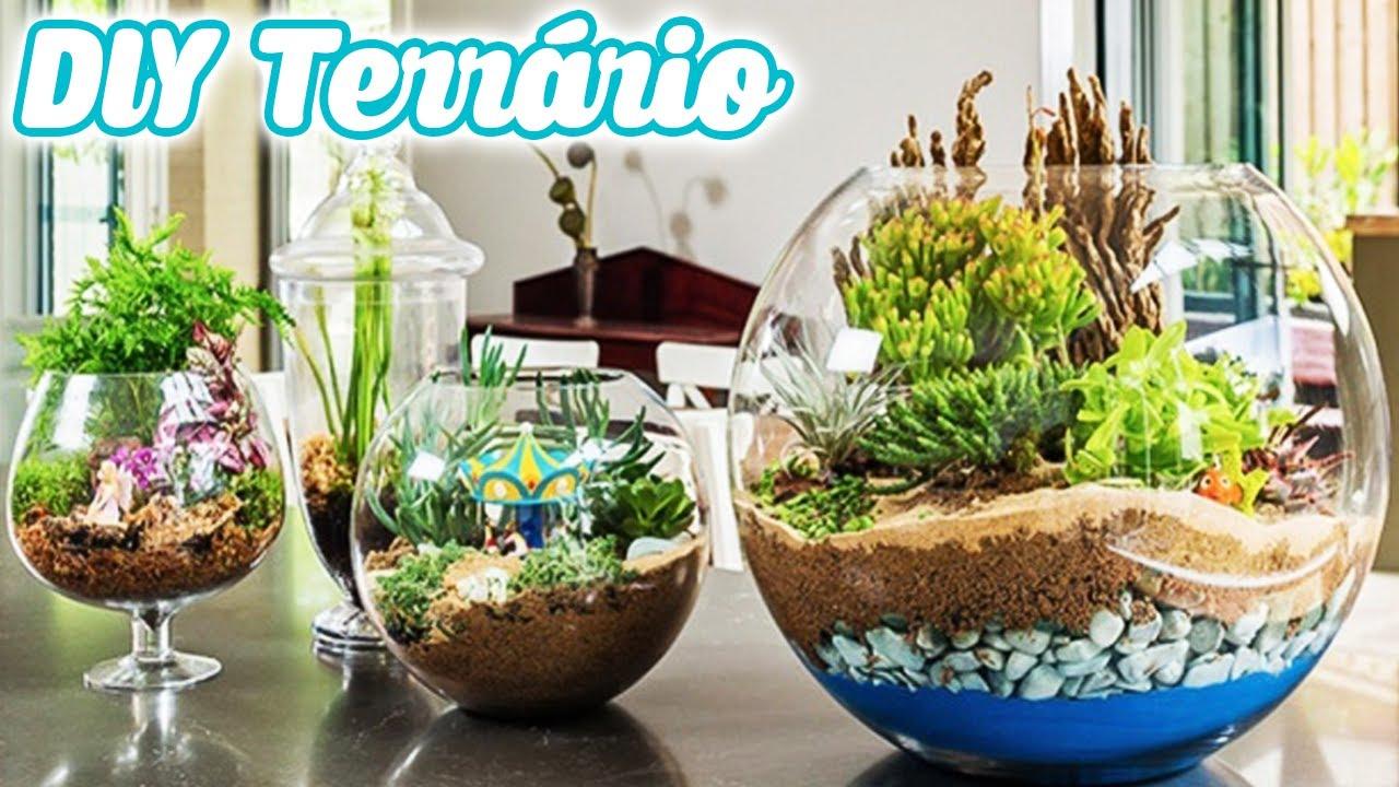 Diy Mini Jardim De Cactus E Suculentas Como Fazer Terrário Youtube