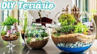 DIY Mini Jardim de Cactus e Suculentas - como fazer TERRÁRIO