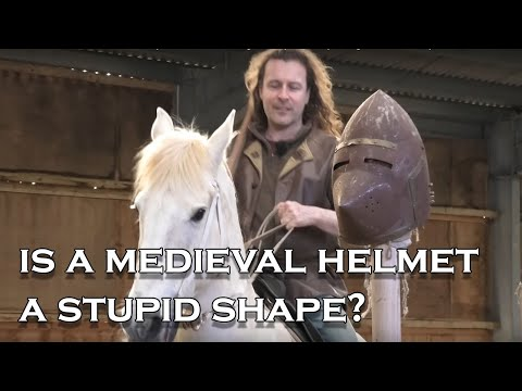 Medieval Helmet: How Is The Shape Of A Helmet Designed To Protect? (testing It With A Lance)