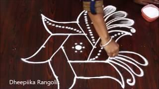 simple and easy star fish rangoli design with 5x3 dots * daily kolam designs * new muggulu rangolis