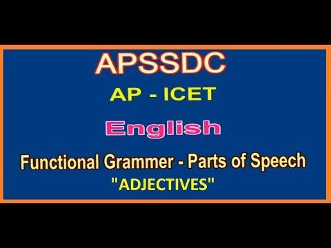AP ICET Exam 2018 | English  Functional Grammar | Parts Of Speech | Adjectives |  APSSDC |  MANATV
