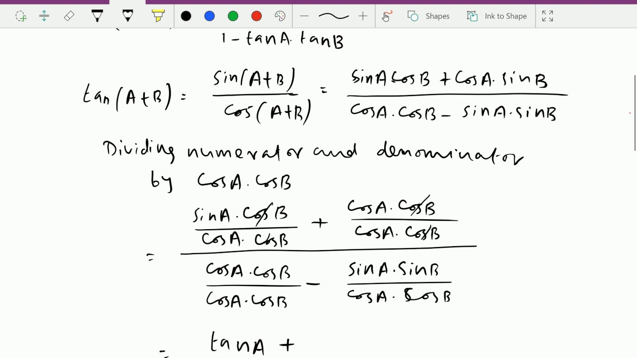 a divided by b_Trigonometry : - ( Tan(A+B) and Cot(A+B) formulae proof ) -- 30 - YouTube