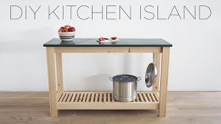 DIY Kitchen Island with Slate Countertops