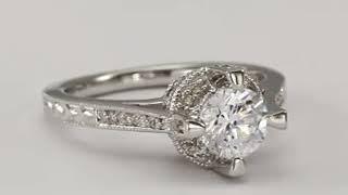 Art Deco Ring Diamond Engagement Ring 0 75 Carat Center In 14k White Gold