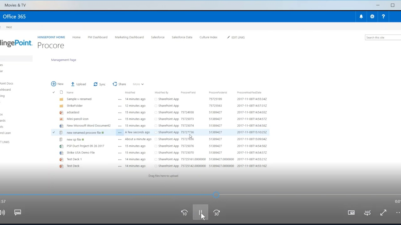 Procore + SharePoint Document Integration File Sync (Demo) | HingePoint,  LLC