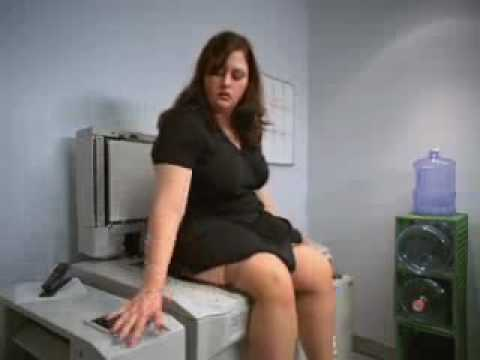 Chunky girl gets insulted by Xerox machine.. Copier Commercial