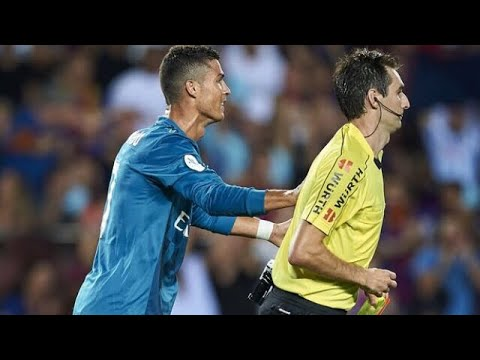 Ronaldo gets red card and pushes the reff