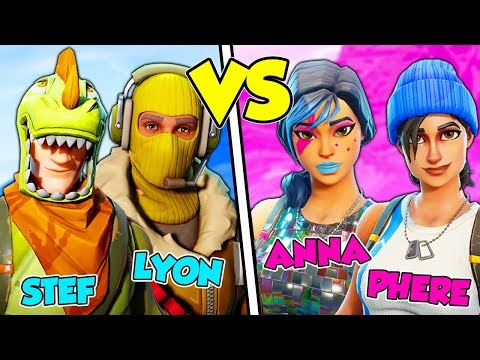 Maschi contro femmine su fortnite battle royale! - lyon & stef vs anna & phere