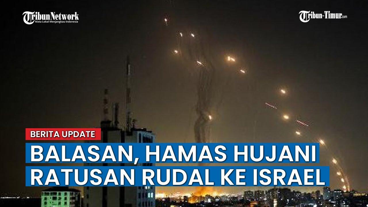 Download Serangan Balasan, Hamas Militan Palestina Luncurkan Ratusan Rudal ke Israel