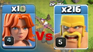 1 Valkyrie VS 220 Barbarians!!! ULTIMATE TROOPS SHOWDOWN in Clash of Clans