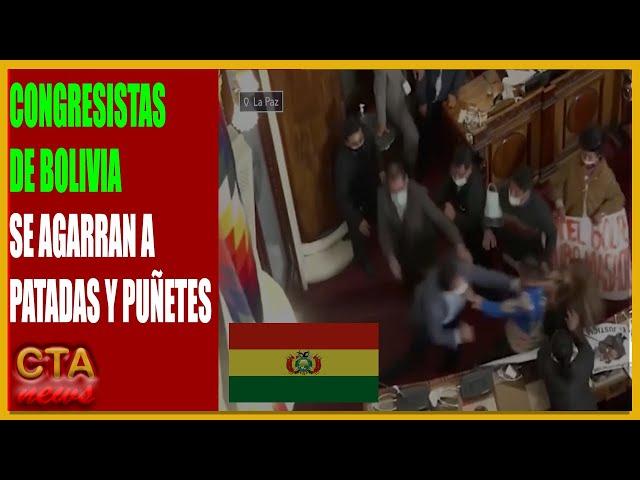 """CONGRESISTAS BOLIVIANOS SE AGARRAN A PATADAS Y PUÃ'ETES DURANTE UNA SESIÃ""""N EN EL PARLAMENTO"""