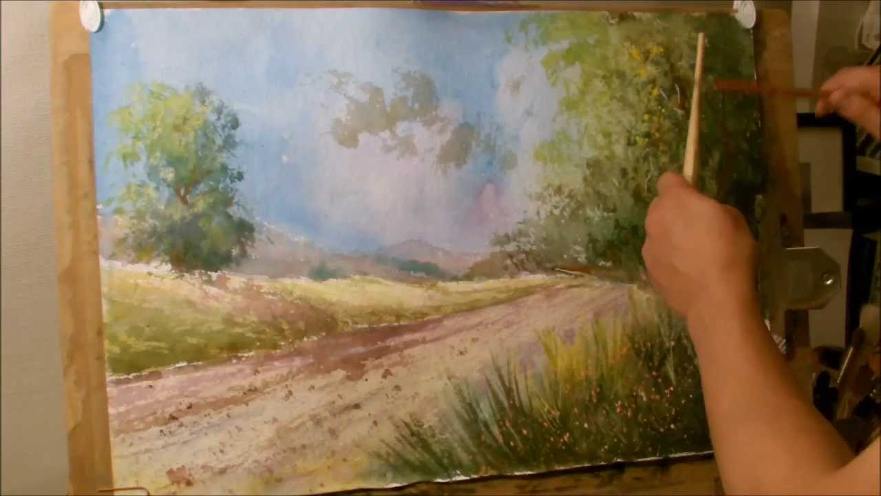 How to paint a landscape in water color. - YouTube