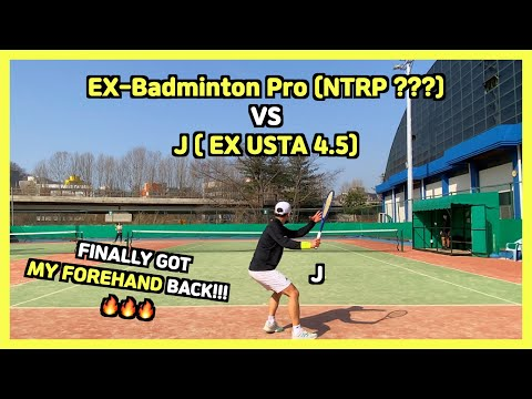 Men's NTRP 4.5 vs ??? Tennis Match | J vs Badminton Pro | Court level Highlights and Matchplay HD