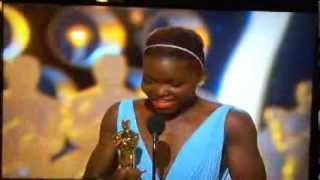 Repeat youtube video Lupita Nyong'o's Beautiful Oscar Speech for *Best Supporting Actress* for Movie *12 Years a Slave!*
