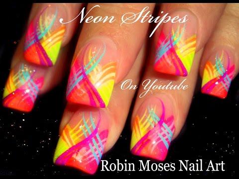 Neon Stripes Nail Art Design | HOT Striped Nails Tutorial