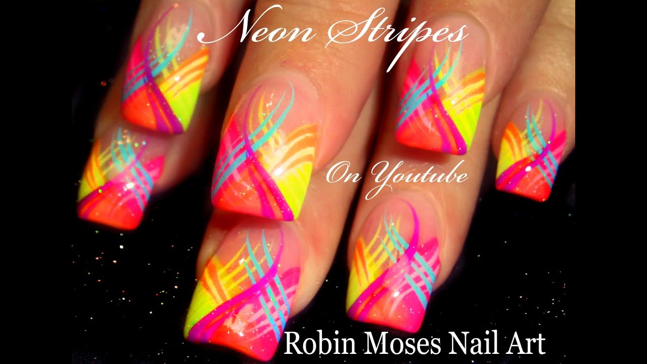 Neon Stripes Nail Art Design | HOT Striped Nails Tutorial - YouTube