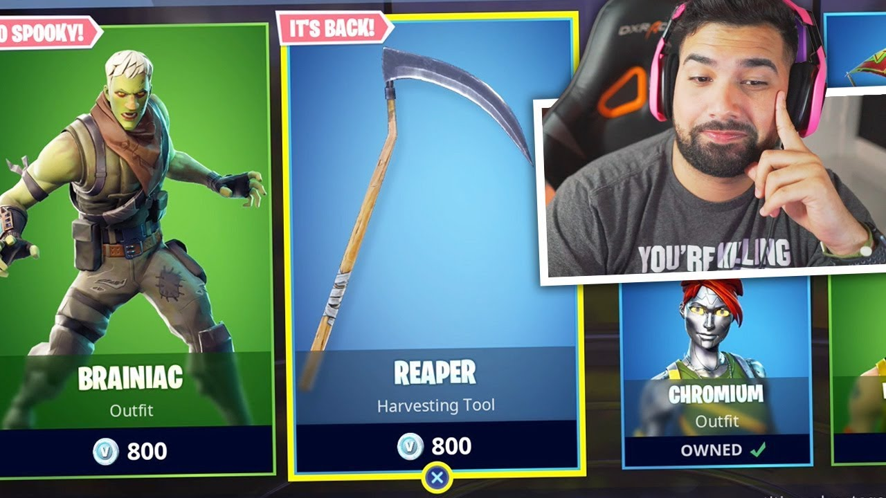 Buying The Fortnite Reaper Pickaxe Youtube