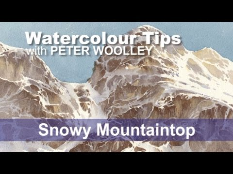 Watercolour Tip from PETER WOOLLEY: Snowy Mountaintop: In this demonstration of a snowy mountain summit, Peter Woolley explores the concepts of spontaneity and close observation. Also covered is the challenge of creating complex highlights through negative painting.  Buy this painting here: https://www.peterwoolley.co.uk/originals_gallery_DEMOS.html  A full set of tutorials on painting hills and mountains are featured in Part 10 of the 'Watercolour for Beginners' DVD series: Painting Mountains (also available as a Book and DVD set with 'Hills and Mountains in Watercolour' published by Search Press).  Available in both PAL and NTSC formats  Order online from www.peterwoolley.co.uk  Want to improve your watercolours, or learn the basics? Check out Peter's Private Online Student Service at www.peterwoolley.co.uk for one-to-one tuition and professional guidance.