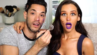 BOYFRIEND DOES MY MAKEUP | Carli Bybel