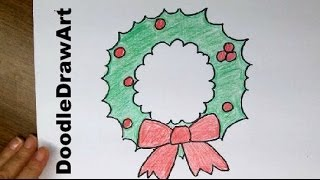 Drawing: How To Draw a Super Easy Cartoon Christmas Wreath