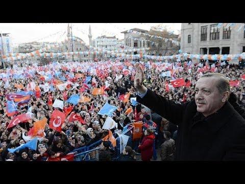 اردوغان يتهم متظاهرين مناهضين لحكومته بمحاولة اثارة الفوضى قبل الانتخابات