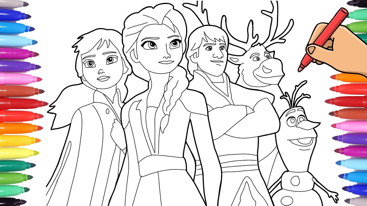 DISNEY FROZEN 2 COLORING PAGES - DRAWING ELSA ANNA AND ...