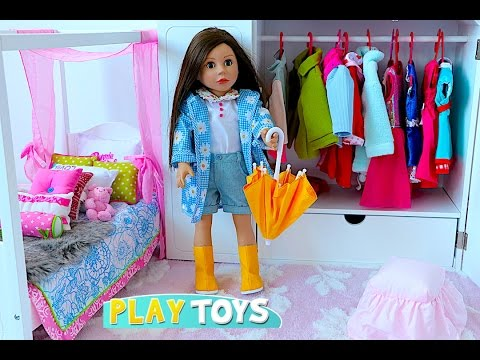 Baby Doll House toy! Play dolls closet wardrobe dress up w/ American girl doll & dollhouse furniture