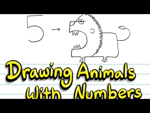 Cartoon Animals Drawing From Numbers Simple Drawing For Kids