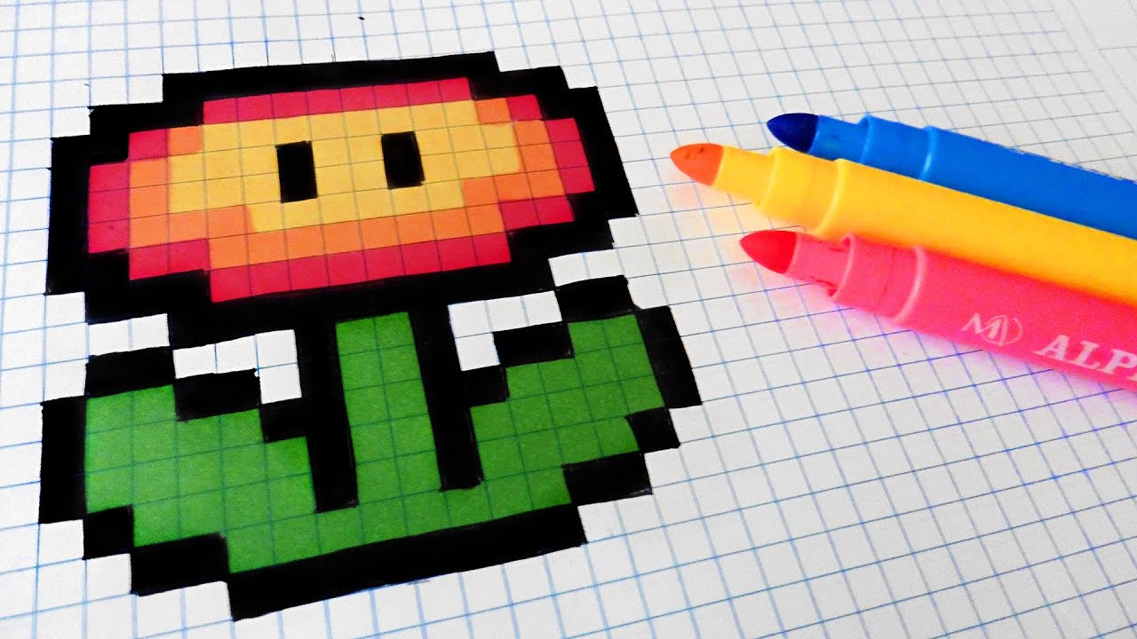 Handmade Pixel Art How To Draw Fire Flower Pixelart
