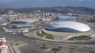 Олимпийские объекты прибрежный кластер с вертолёта(Кадры из нового фильма о Сочи:
