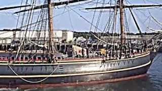 HMS Bounty docking in Gloucester, Mass.