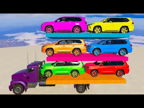 COLOR SUV Cars on TRUCK - Learn Colors with Superhero Cartoon for Kids