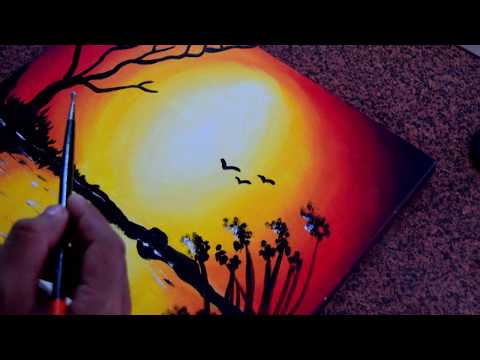 Sunset Oil painting.