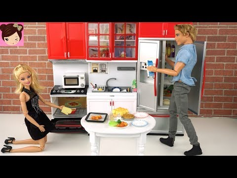 Playing with Barbie Doll House Kitchen Toys - Oven, Groceries & Food Re-Ment Collectibles