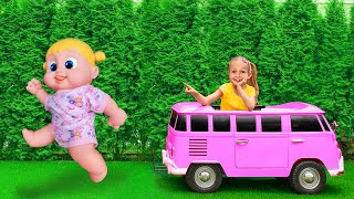 Maya plays toys and turns little toys into big ones - Kids Song by Maya and Mary