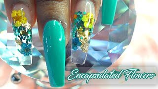 Encapsulated Real Flowers using Nail Tips | Working with Non Dominant Hand | LongHairPrettyNails
