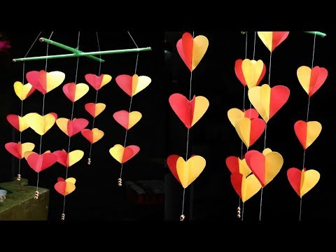Paper wind chimes  How to make wind chime out of paper Handmade paper hanging