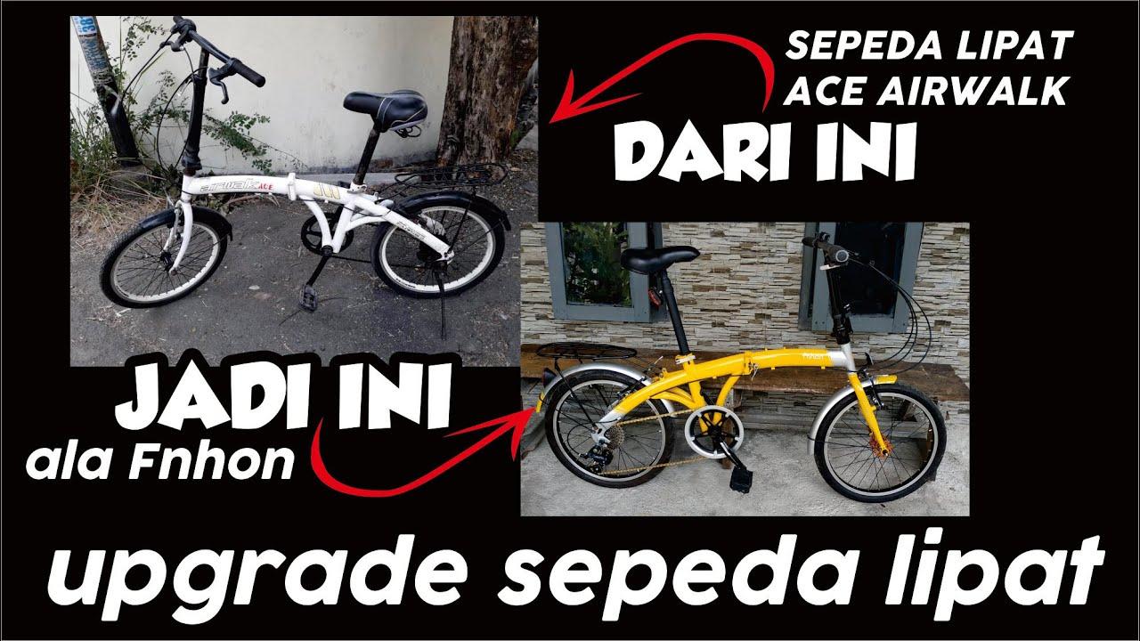 Repaint Simpel Dan Upgrade Sepeda Lipat Ace Airwalk Jadi Ala Fnhon Custom Jadi 9 Speed Youtube